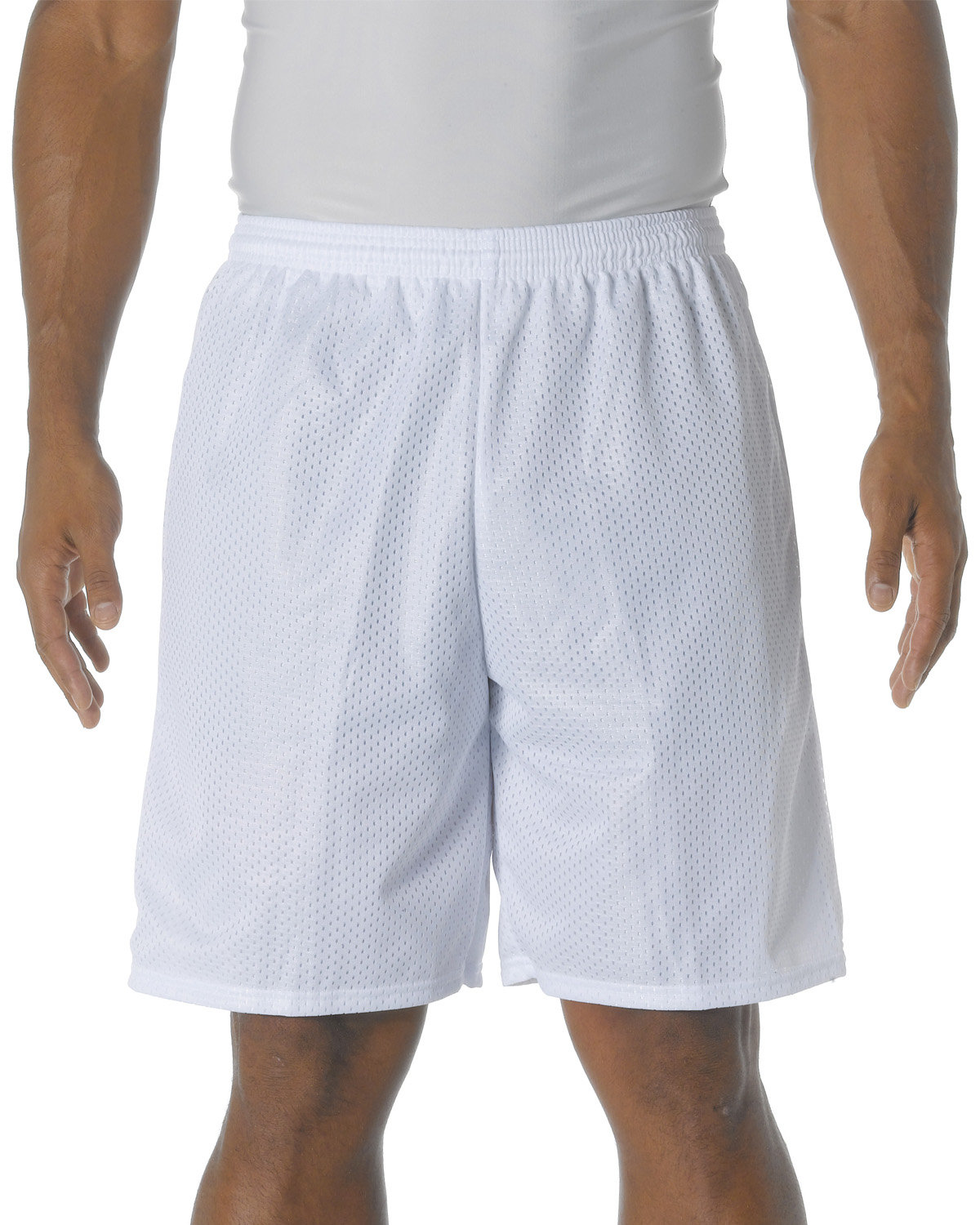 A4 Adult Tricot Mesh Short WHITE