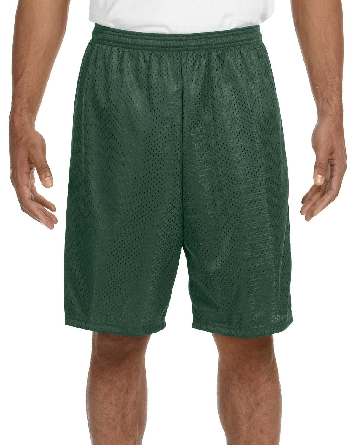 A4 Adult Tricot Mesh Short FOREST GREEN