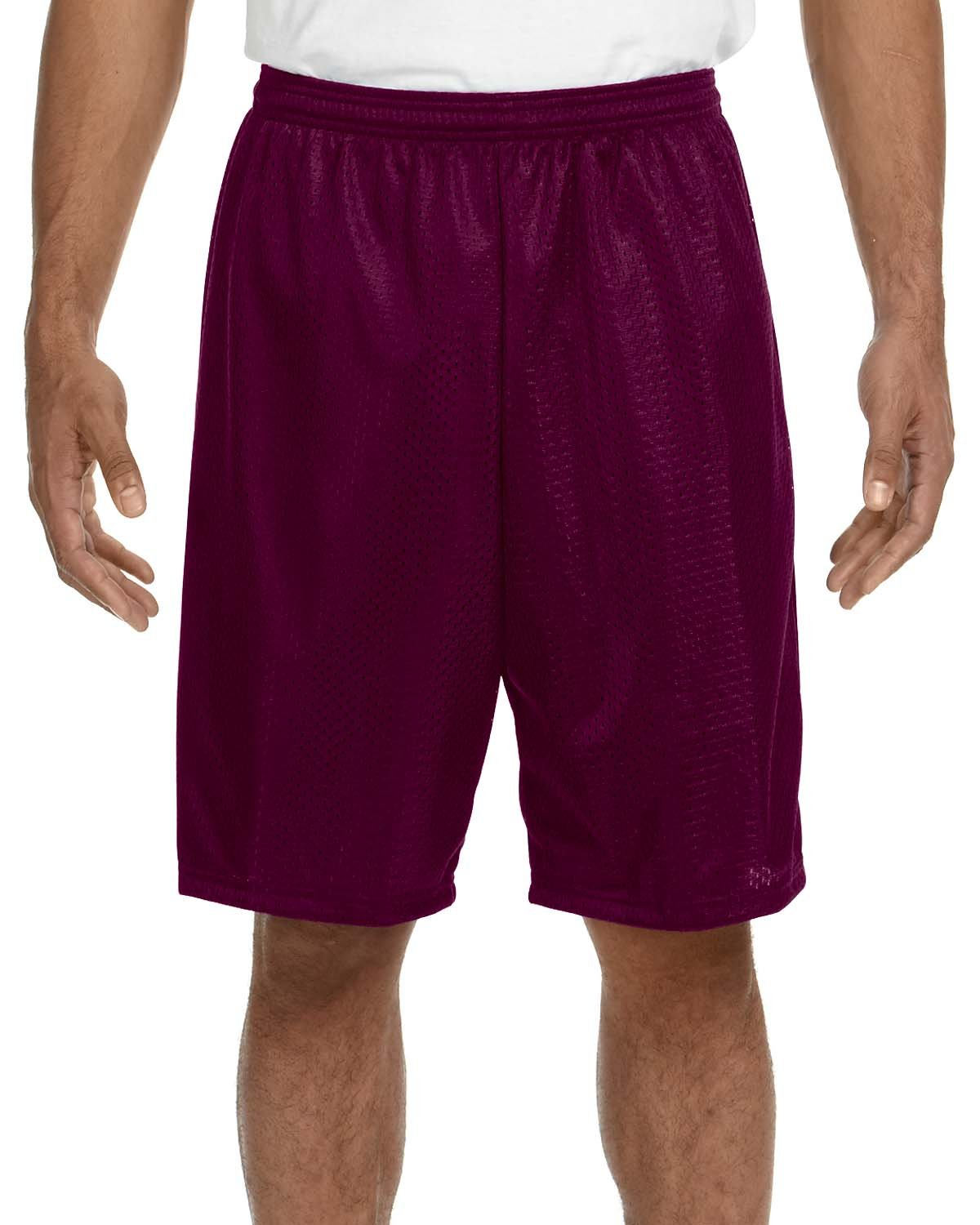 A4 Adult Tricot Mesh Short MAROON
