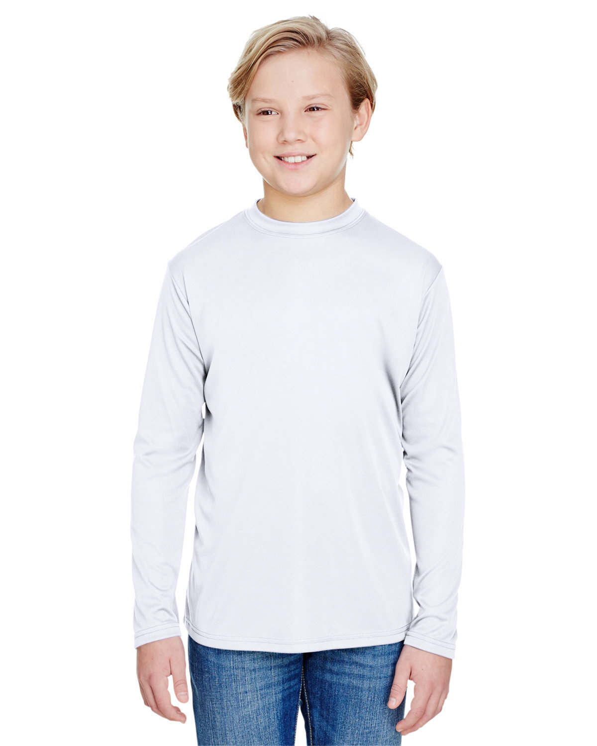 A4 Youth Long Sleeve Cooling Performance Crew Shirt WHITE