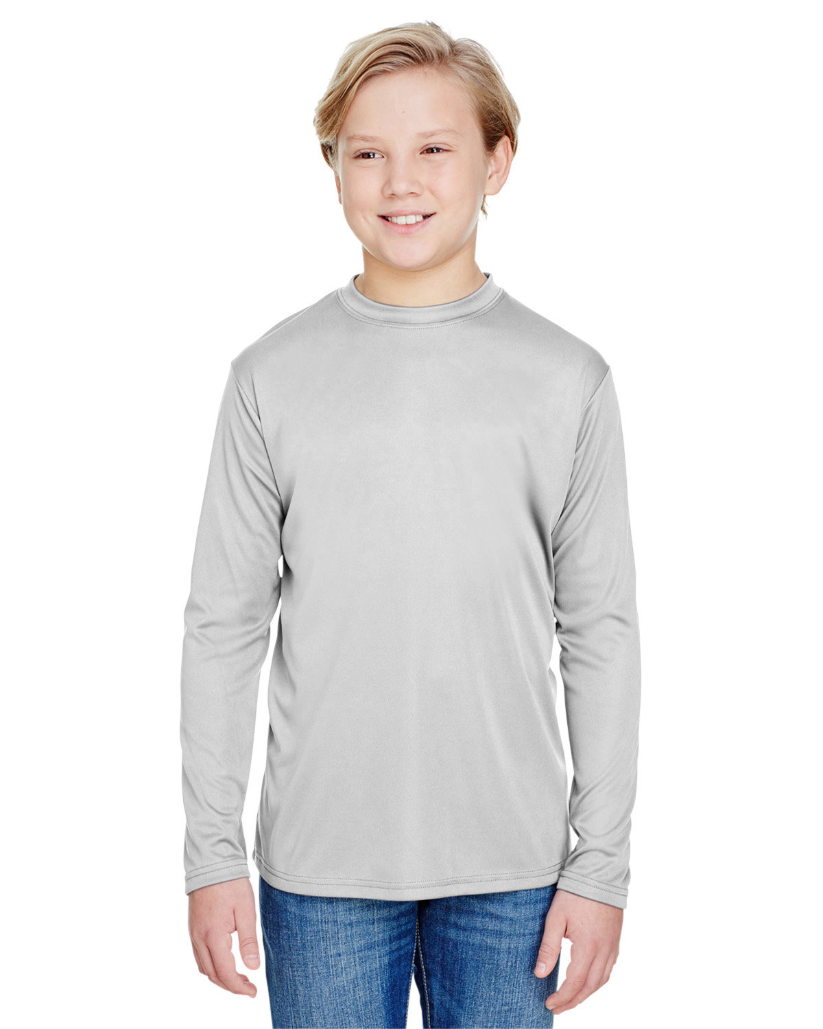 A4 Youth Long Sleeve Cooling Performance Crew Shirt SILVER