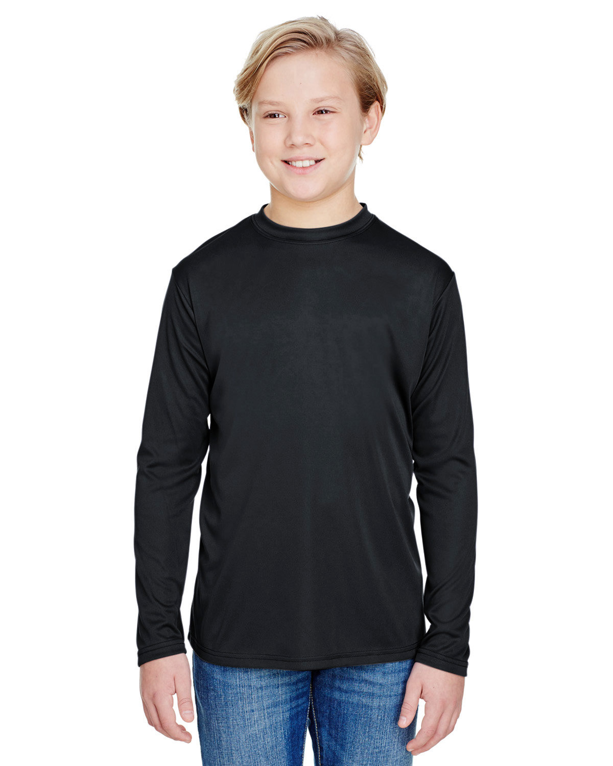 A4 Youth Long Sleeve Cooling Performance Crew Shirt BLACK