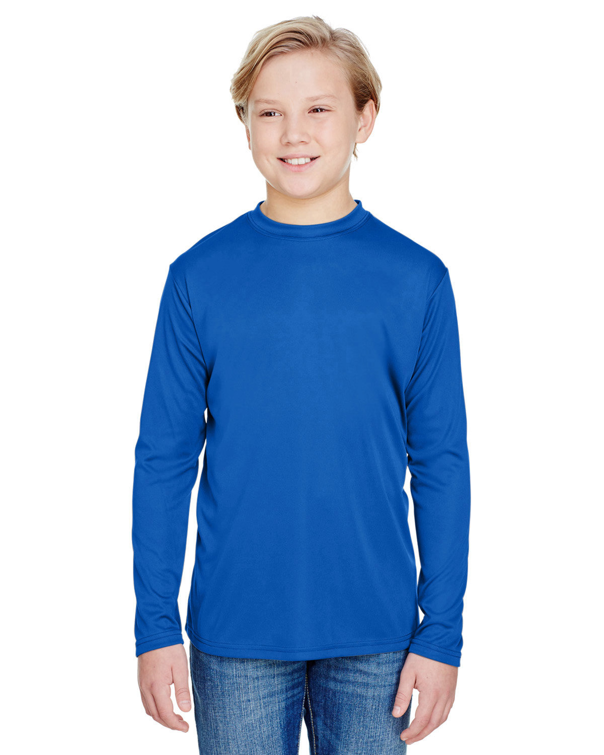 A4 Youth Long Sleeve Cooling Performance Crew Shirt ROYAL