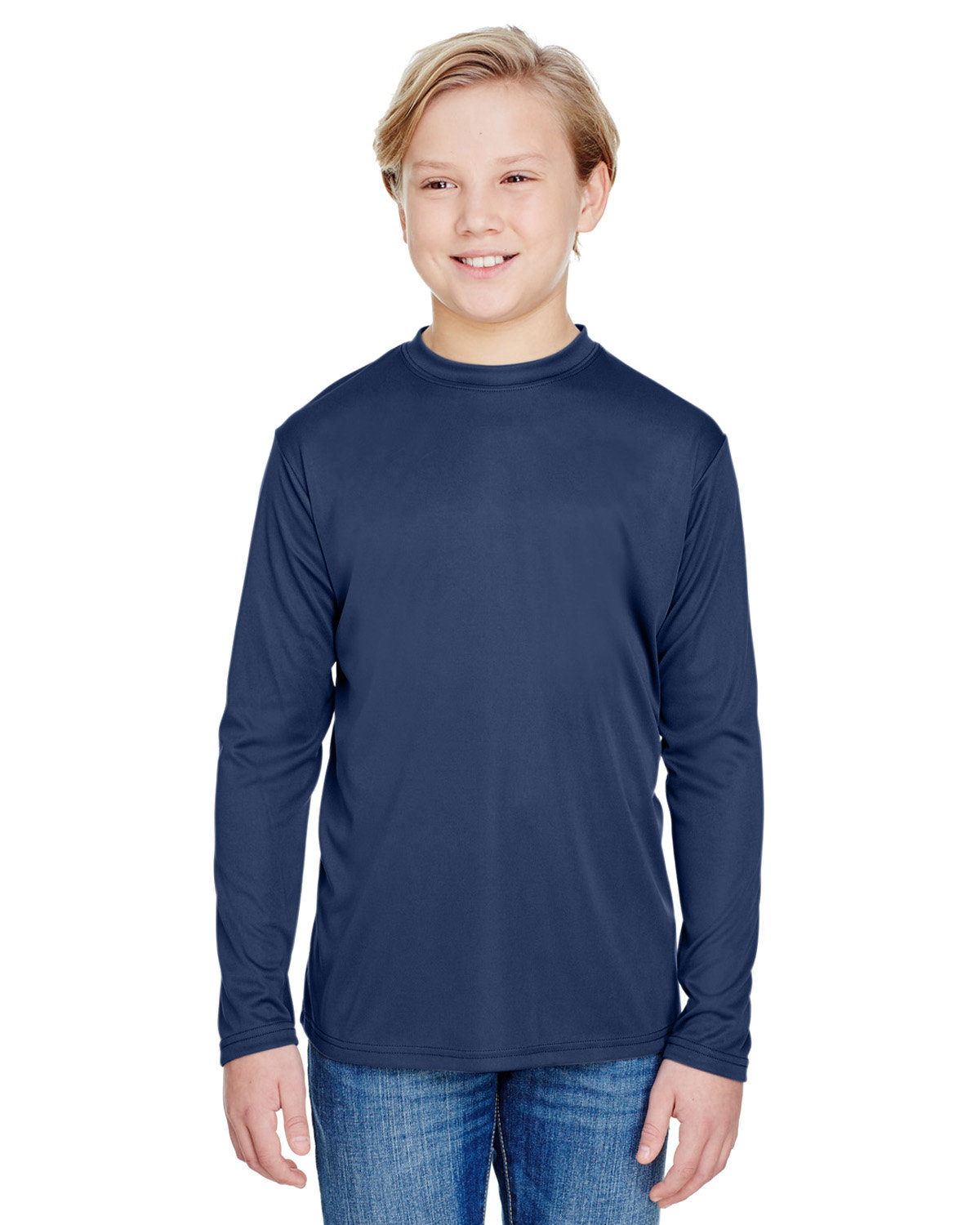 A4 Youth Long Sleeve Cooling Performance Crew Shirt NAVY