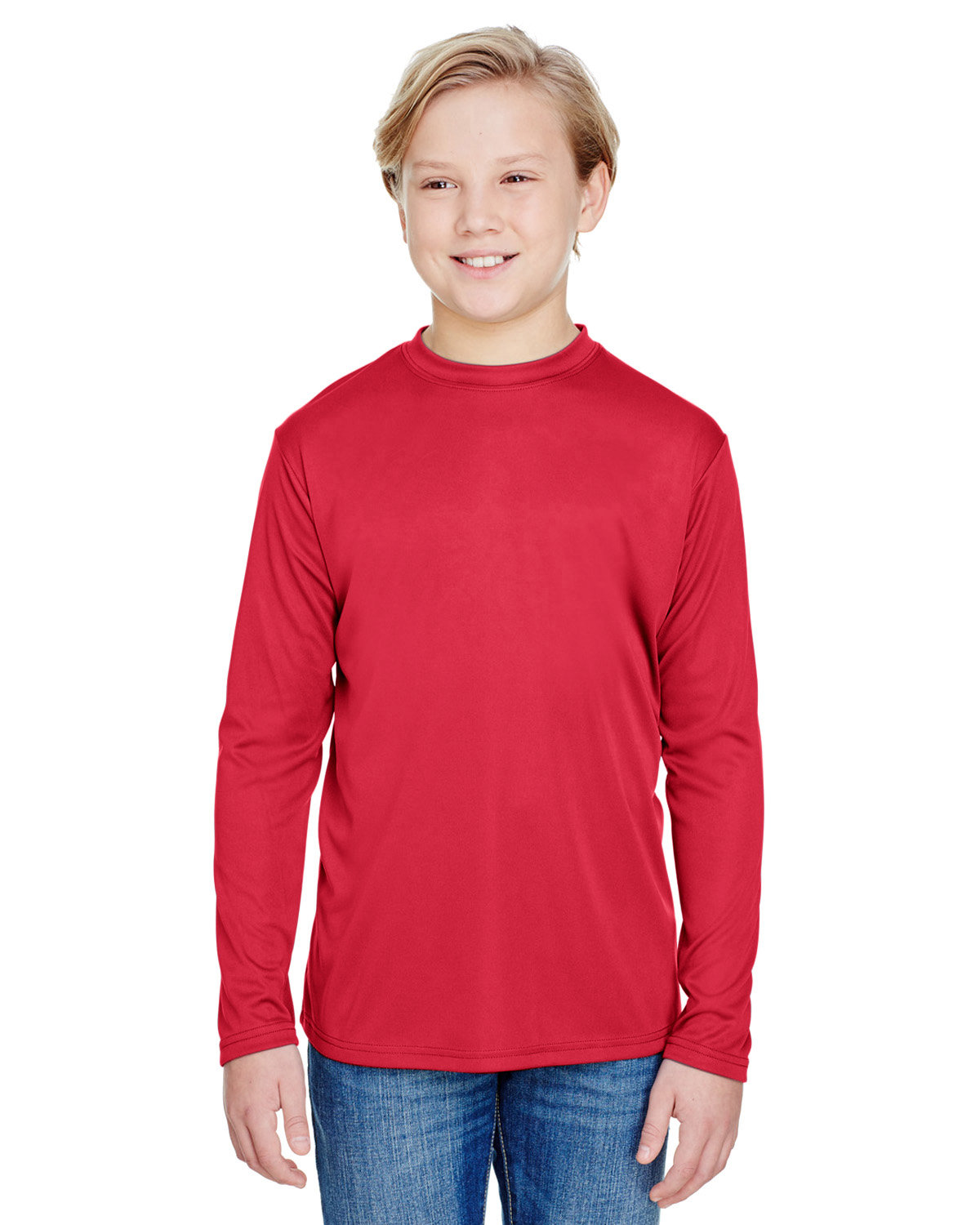 A4 Youth Long Sleeve Cooling Performance Crew Shirt SCARLET