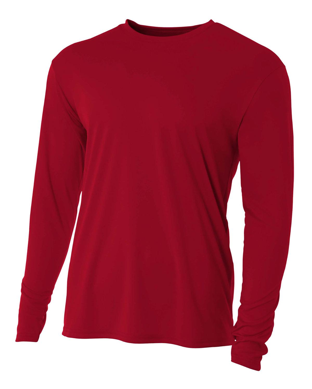A4 Youth Long Sleeve Cooling Performance Crew Shirt CARDINAL