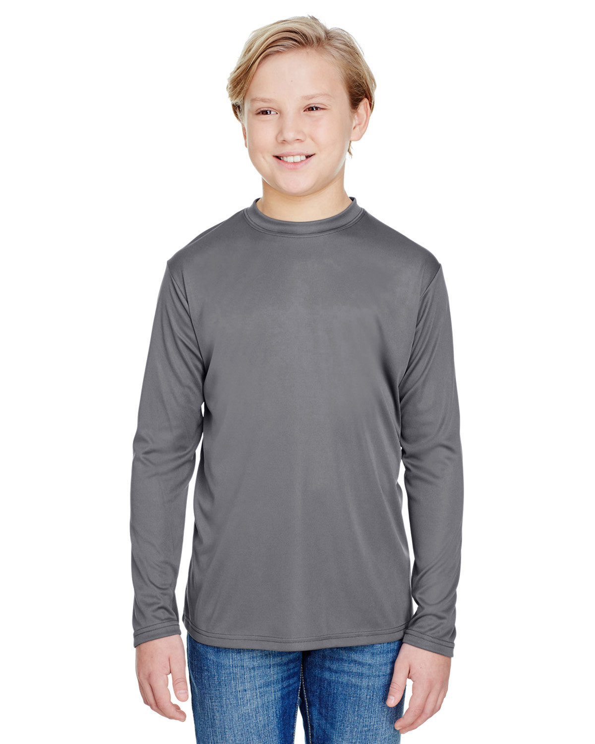 A4 Youth Long Sleeve Cooling Performance Crew Shirt GRAPHITE