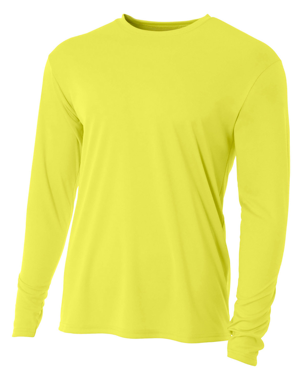 A4 Youth Long Sleeve Cooling Performance Crew Shirt SAFETY YELLOW