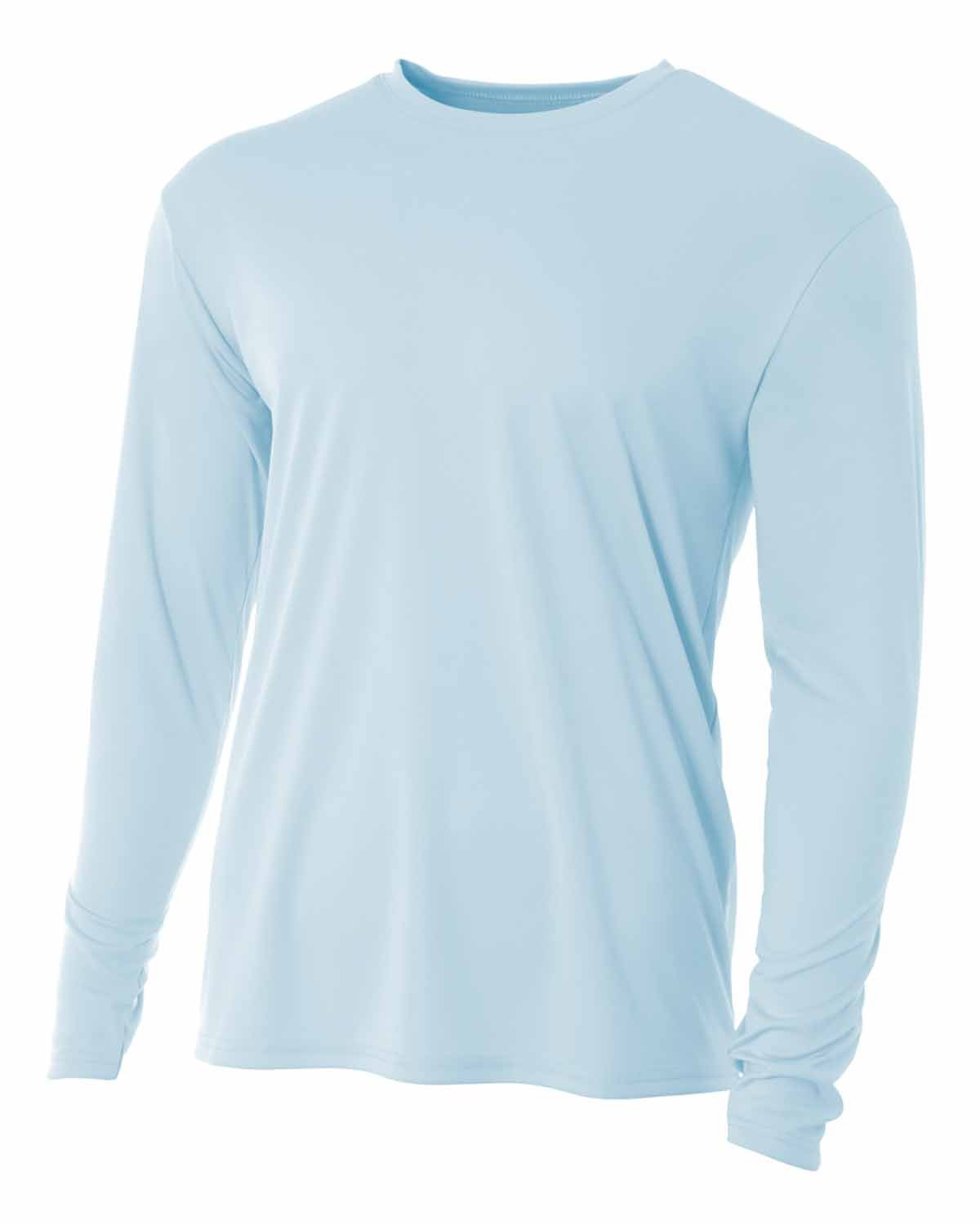 A4 Youth Long Sleeve Cooling Performance Crew Shirt PASTEL BLUE