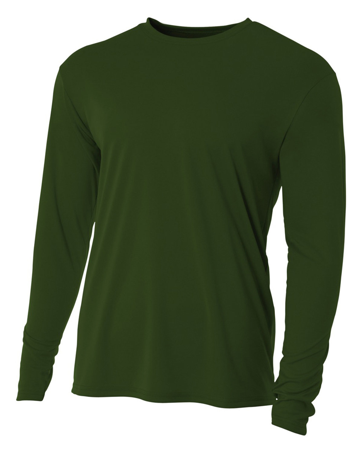 A4 Youth Long Sleeve Cooling Performance Crew Shirt MILITARY GREEN
