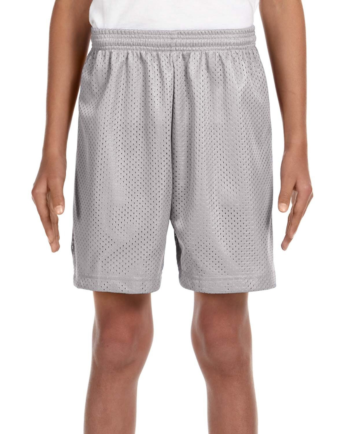 A4 Youth Six Inch Inseam Mesh Short SILVER