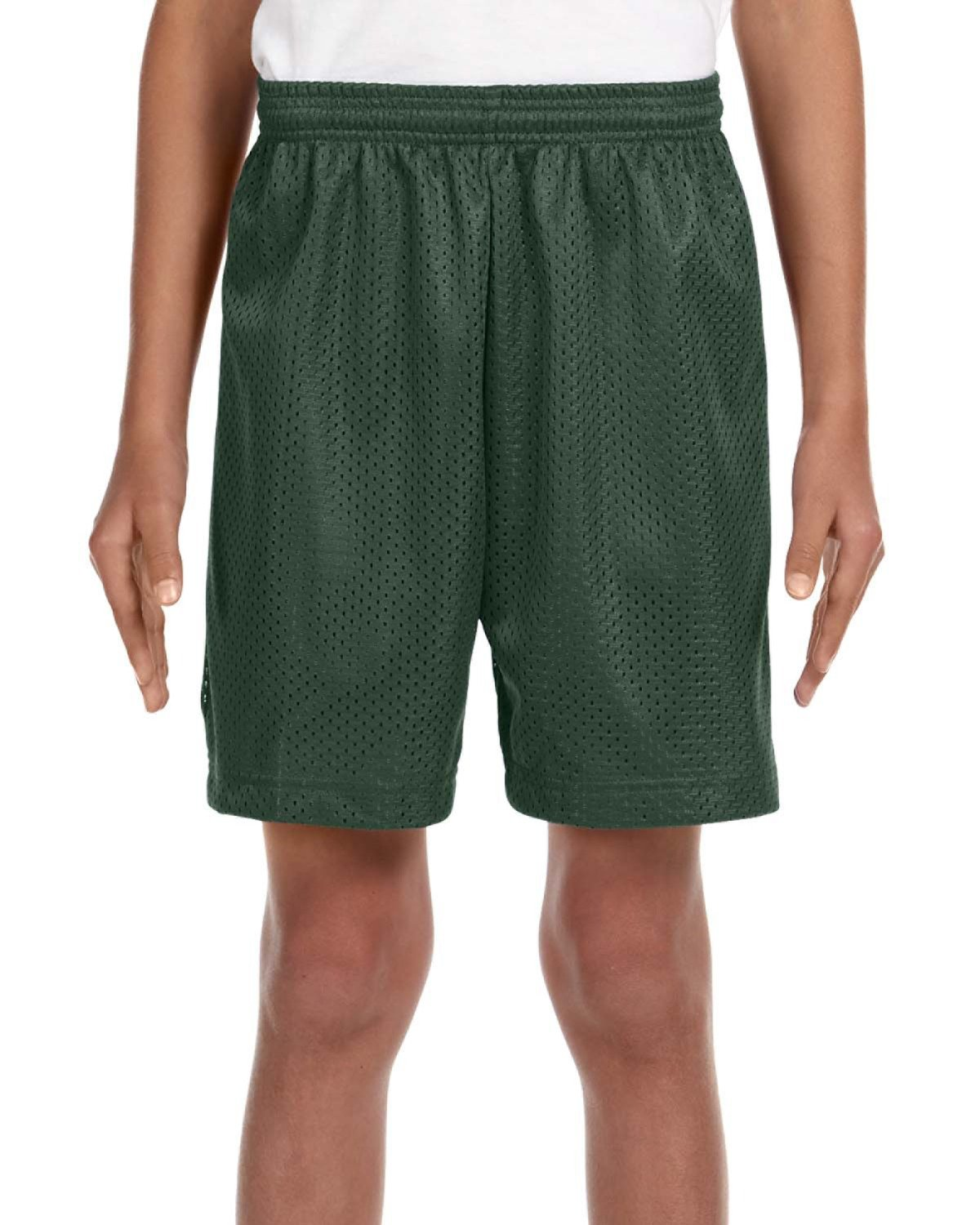 A4 Youth Six Inch Inseam Mesh Short FOREST GREEN