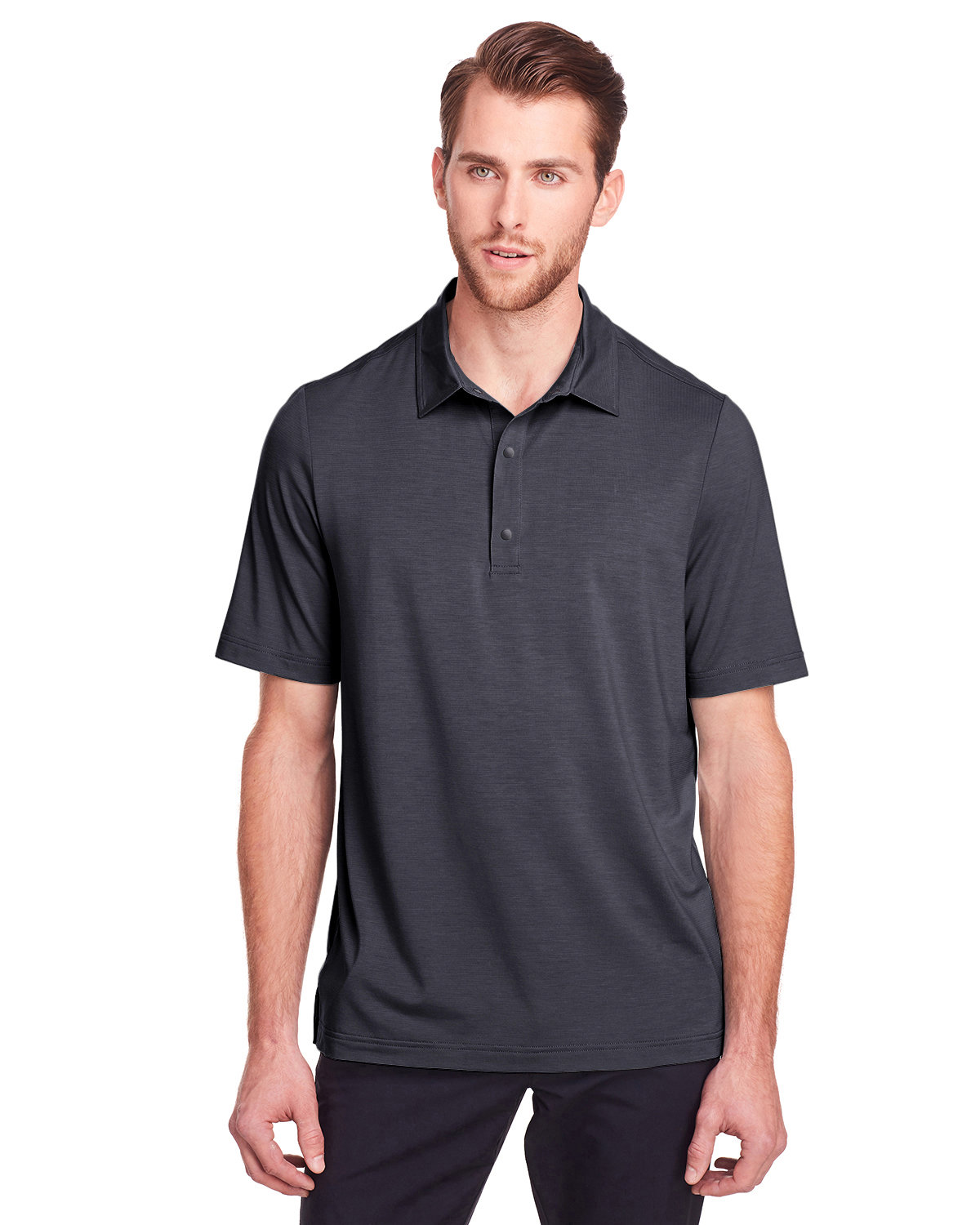 North End Men's Jaq Snap-Up Stretch Performance Polo CARBON