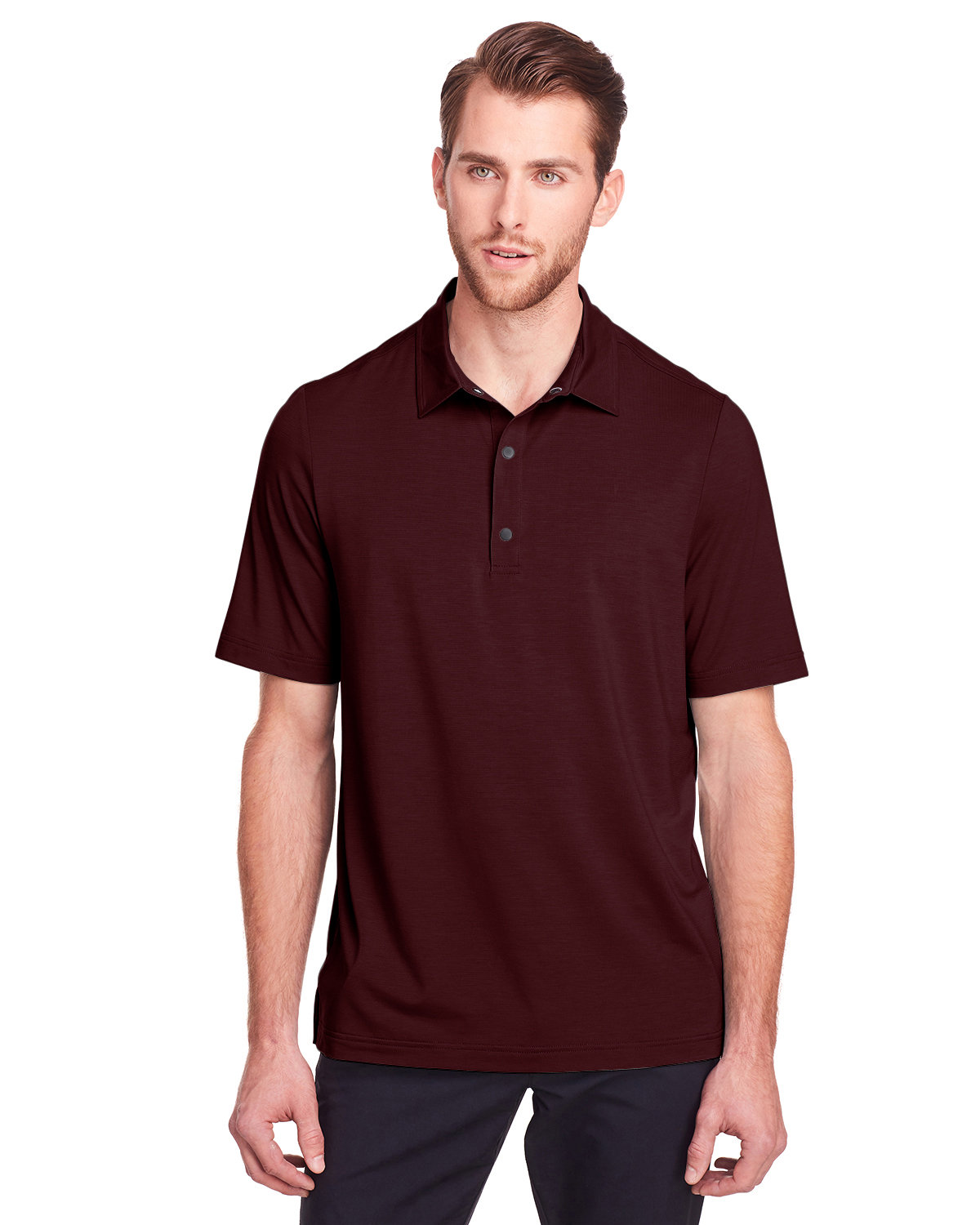 North End Men's Jaq Snap-Up Stretch Performance Polo BURGUNDY
