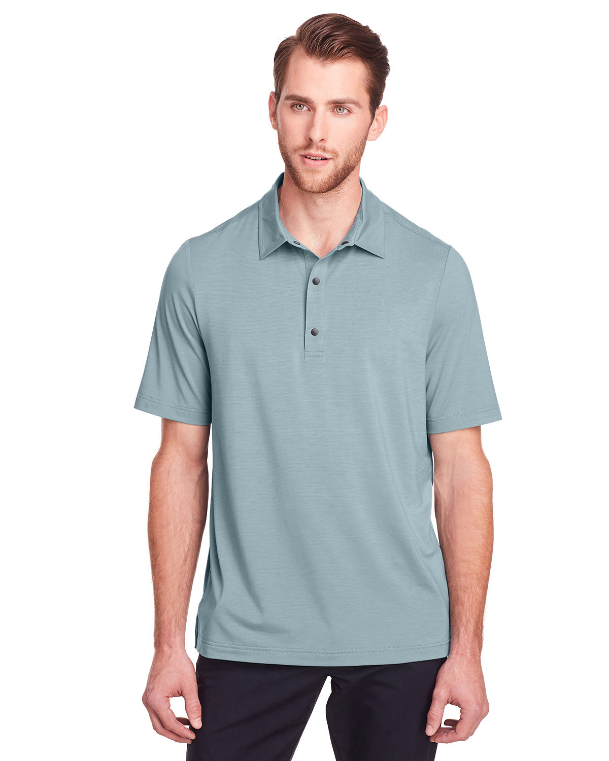 North End Men's Jaq Snap-Up Stretch Performance Polo OPAL BLUE