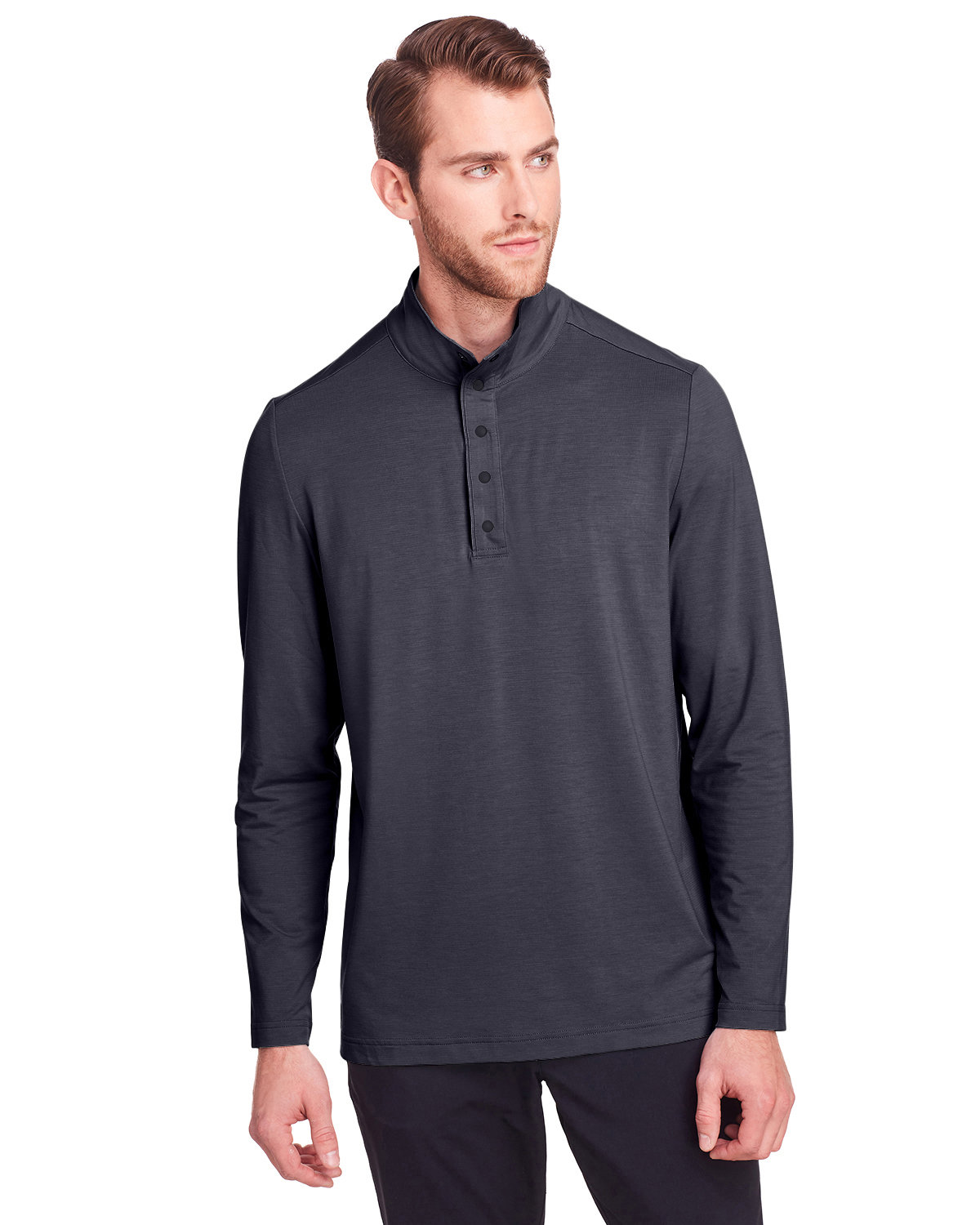 North End Men's Jaq Snap-Up Stretch Performance Pullover CARBON