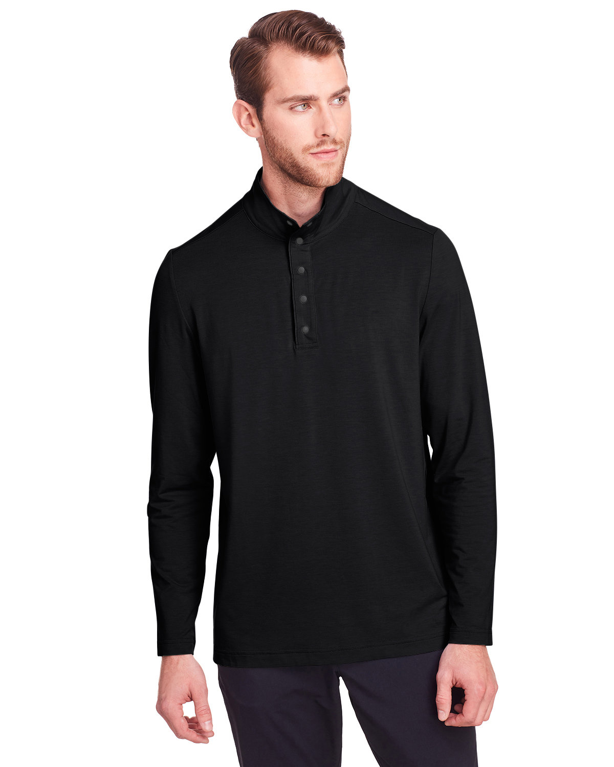 North End Men's Jaq Snap-Up Stretch Performance Pullover BLACK