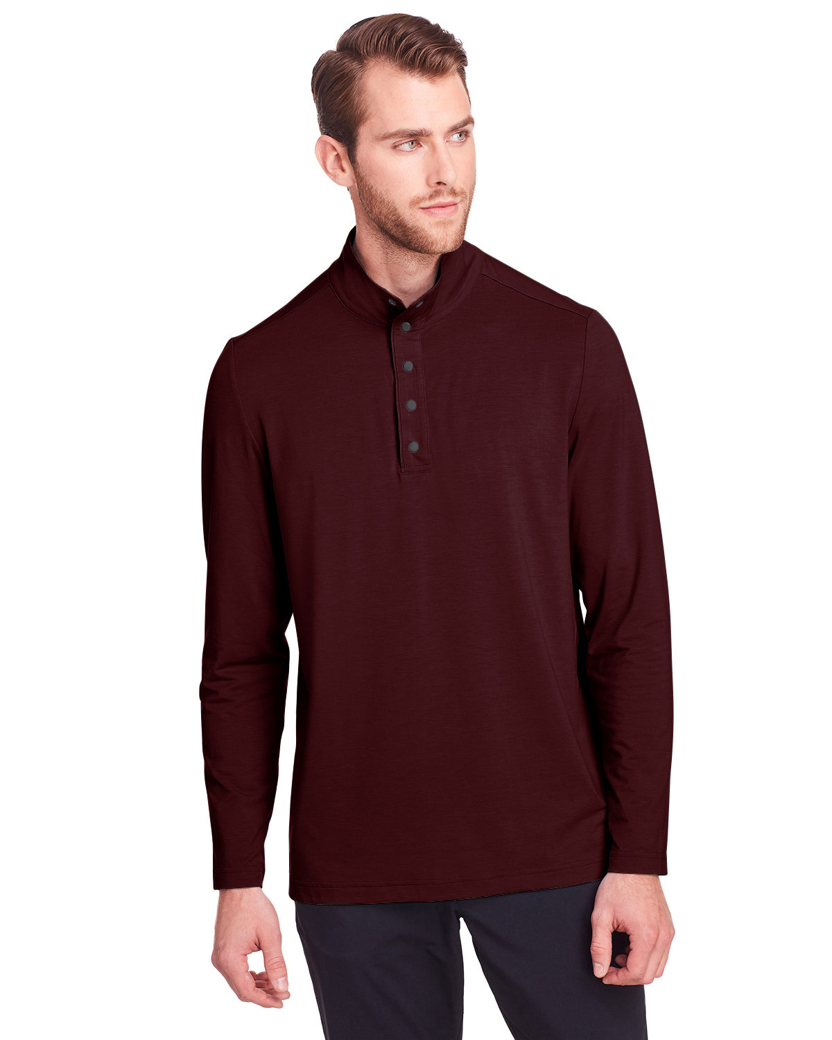 North End Men's Jaq Snap-Up Stretch Performance Pullover BURGUNDY