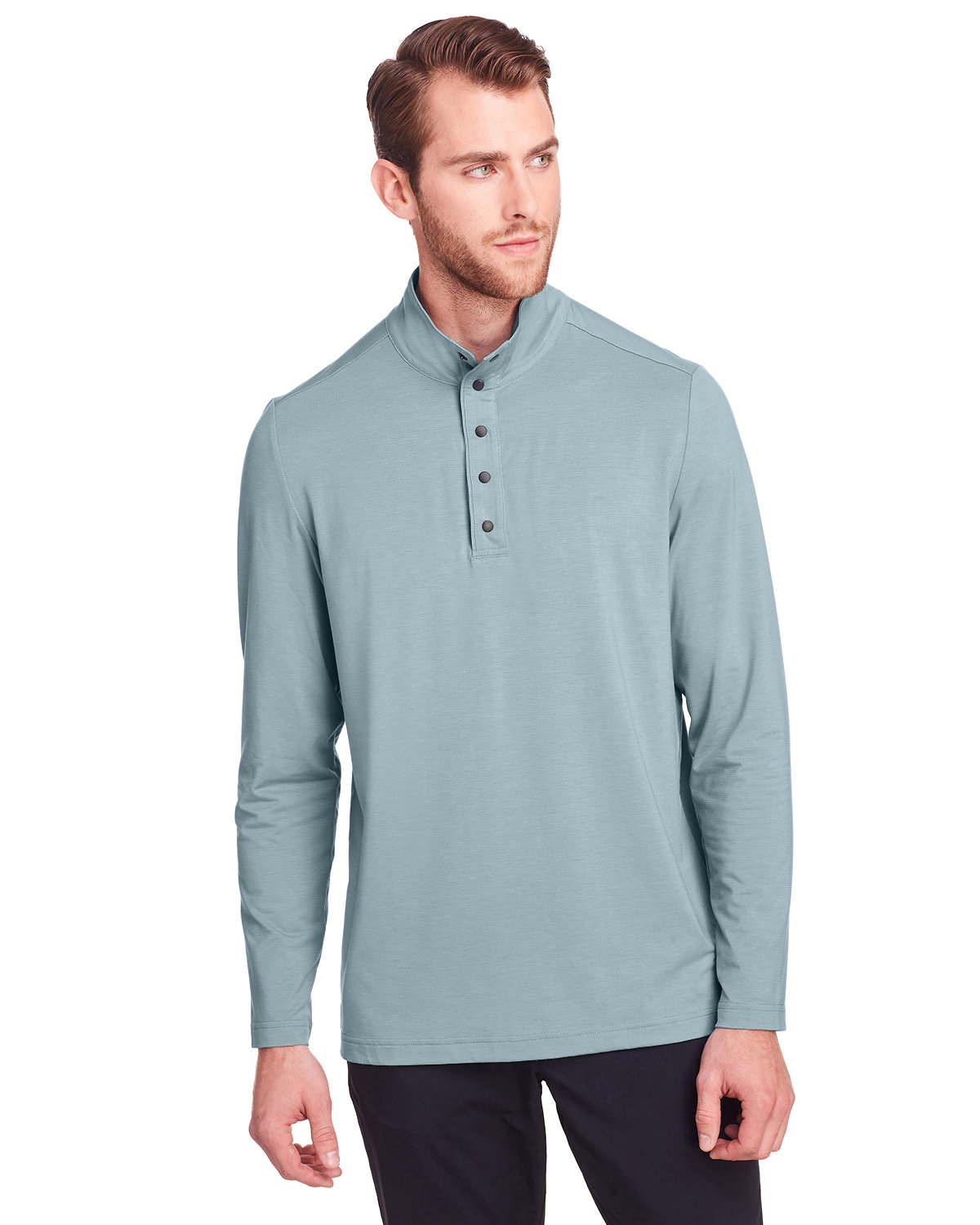 North End Men's Jaq Snap-Up Stretch Performance Pullover OPAL BLUE