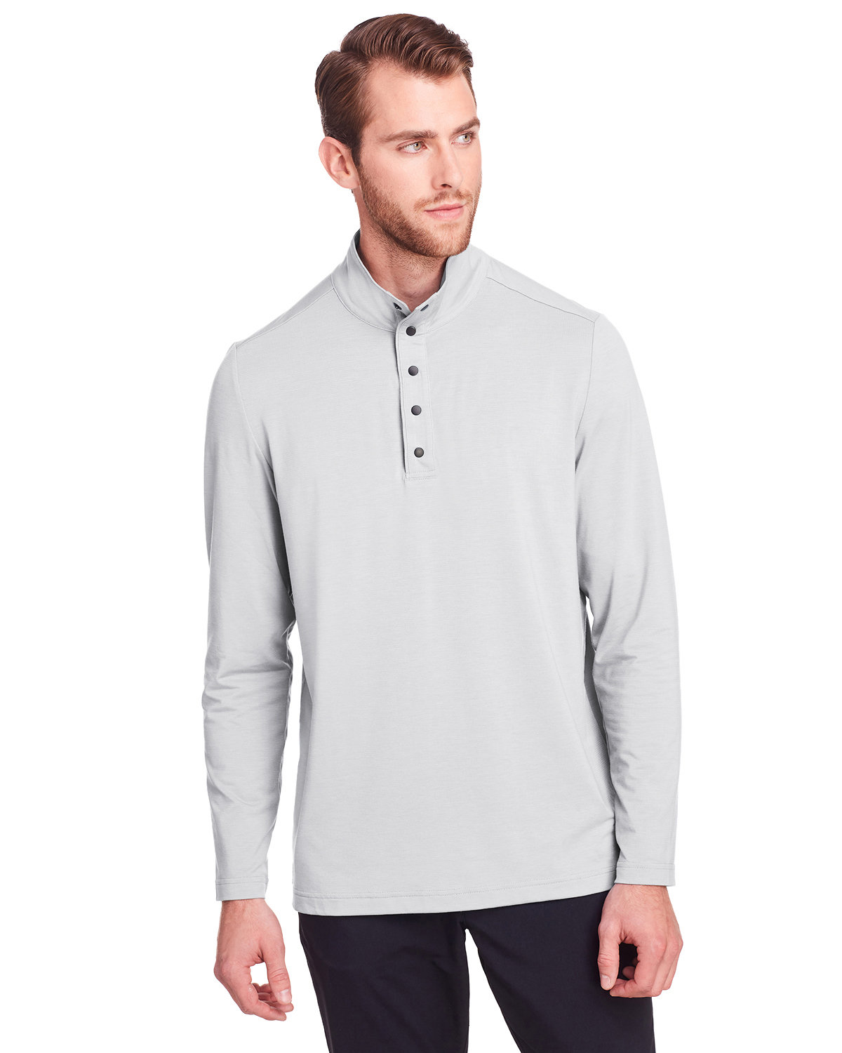 North End Men's Jaq Snap-Up Stretch Performance Pullover PLATINUM