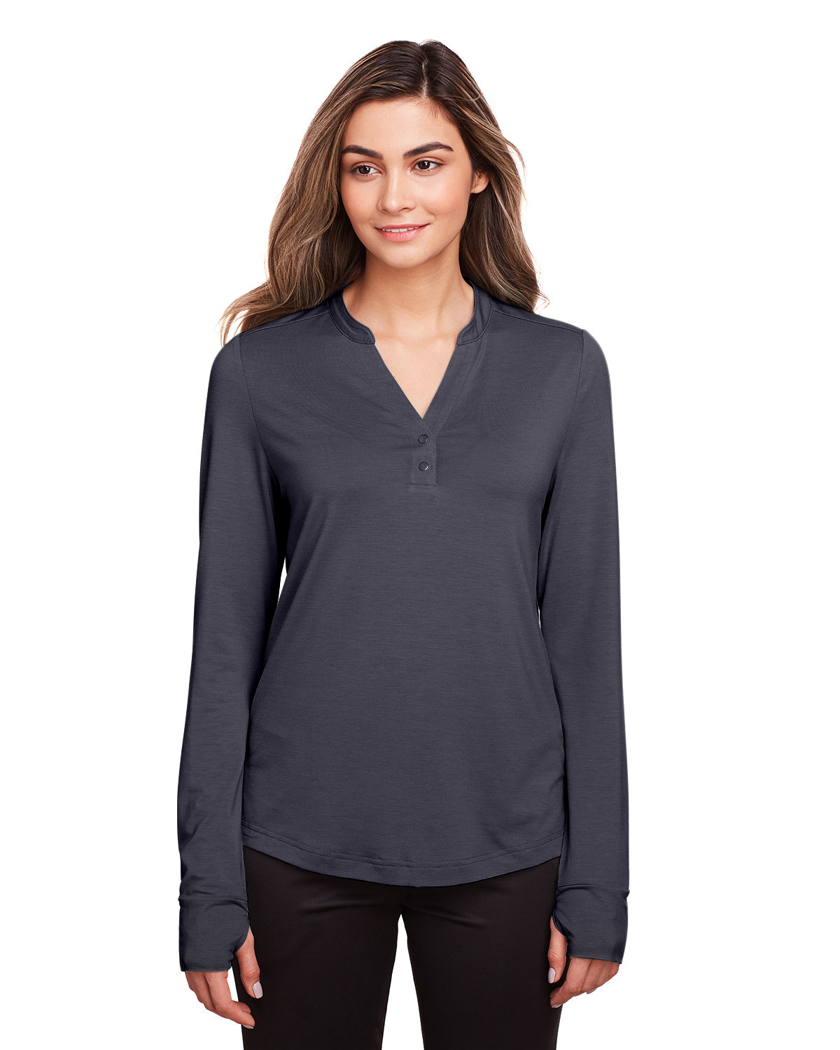 North End Ladies' Jaq Snap-Up Stretch Performance Pullover CARBON