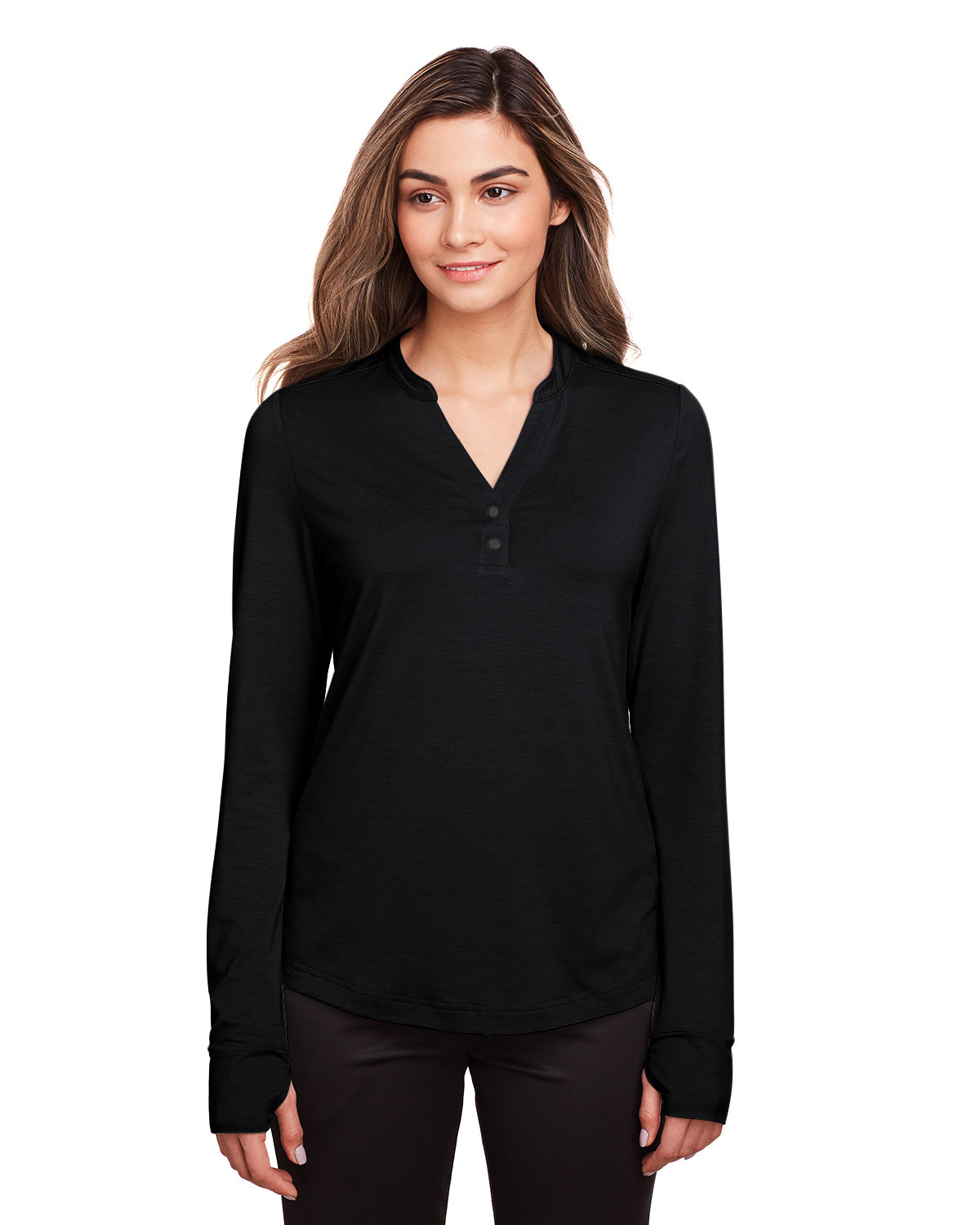 North End Ladies' Jaq Snap-Up Stretch Performance Pullover BLACK