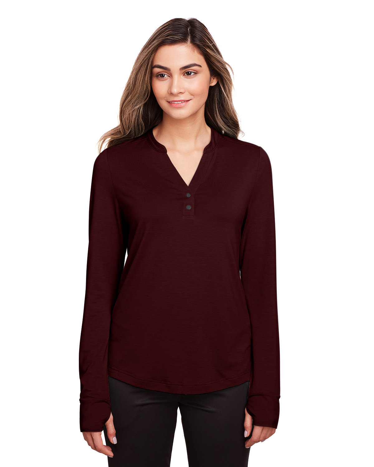 North End Ladies' Jaq Snap-Up Stretch Performance Pullover BURGUNDY
