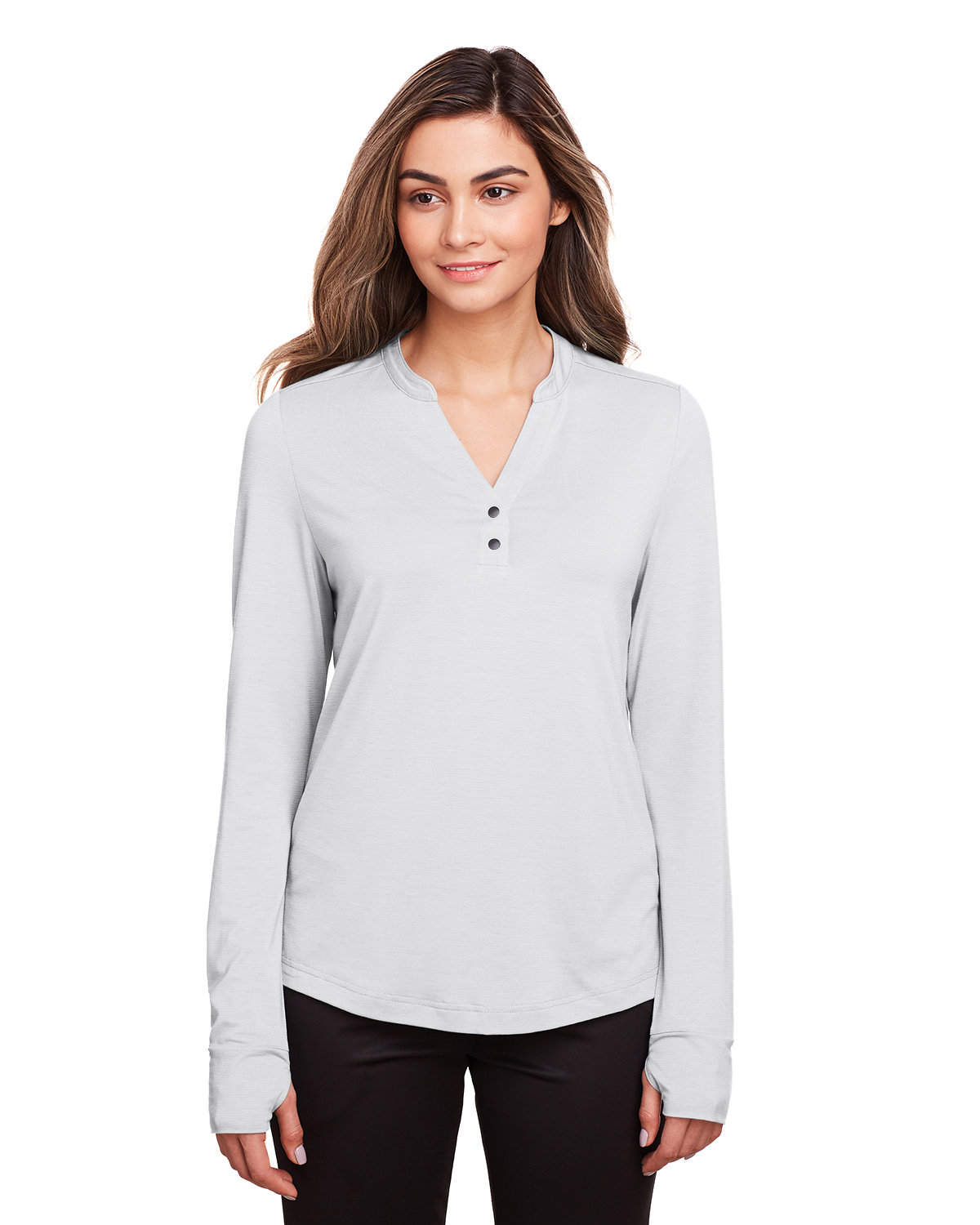 North End Ladies' Jaq Snap-Up Stretch Performance Pullover PLATINUM