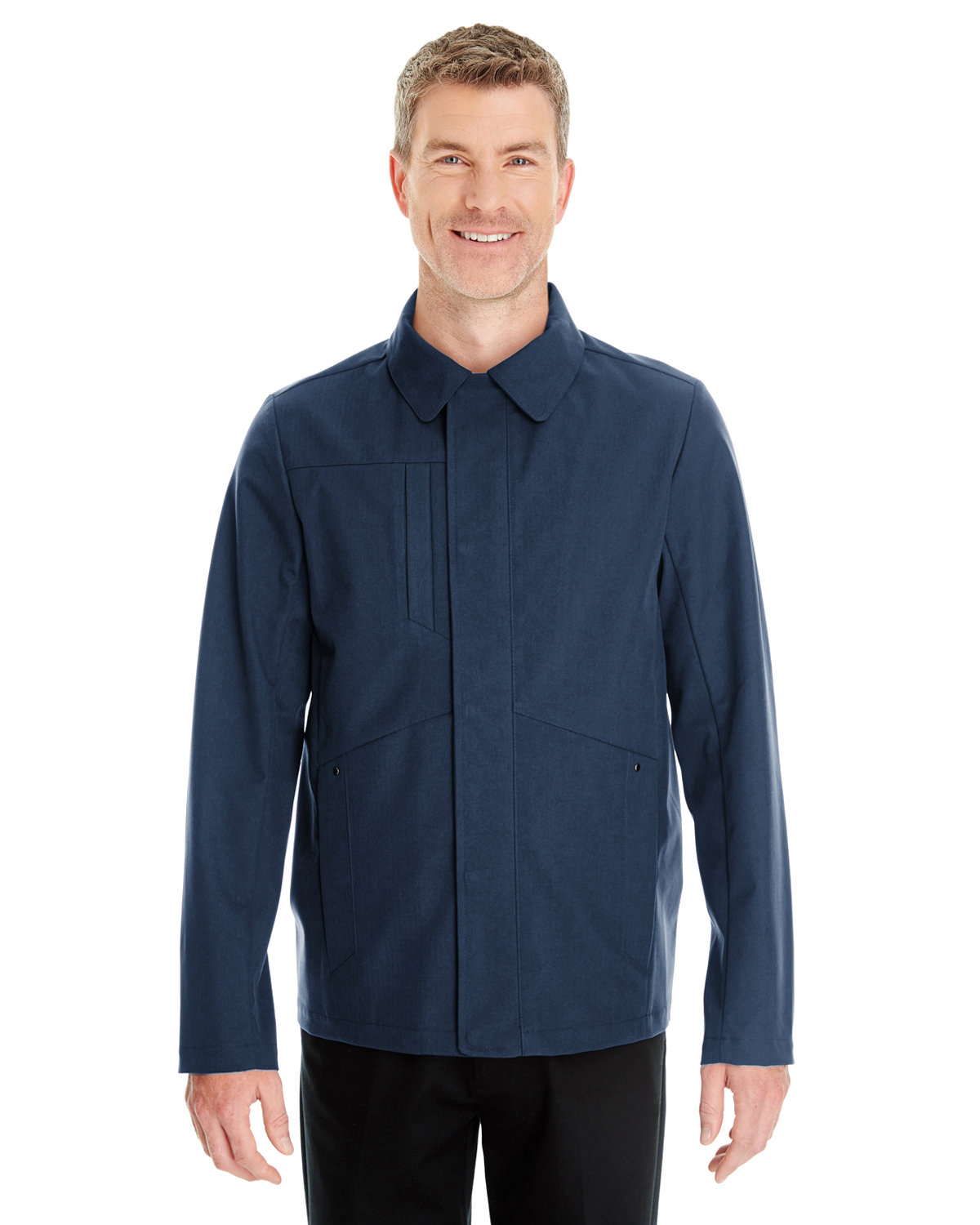 North End Men's Edge Soft Shell Jacket with Fold-Down Collar NAVY