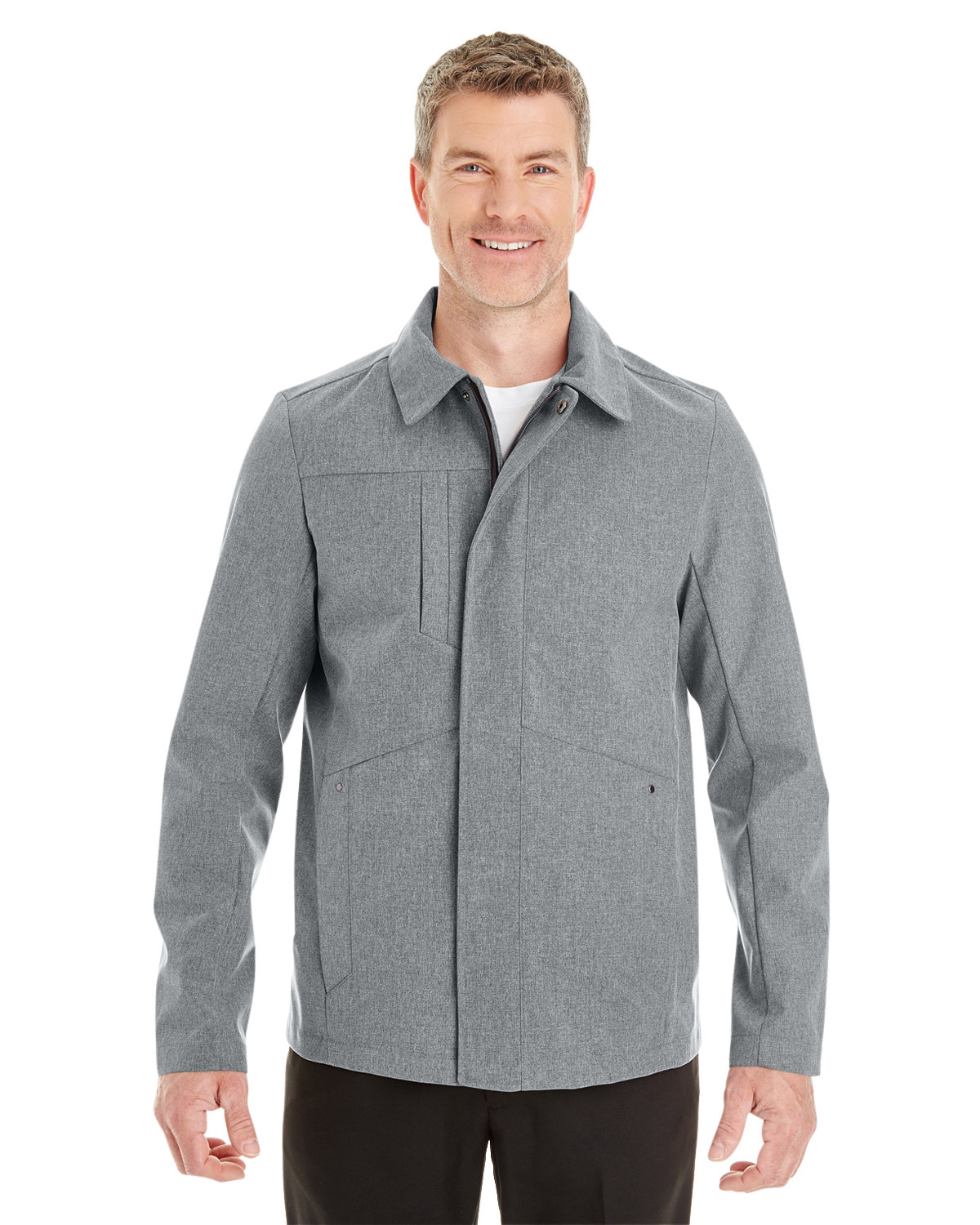 North End Men's Edge Soft Shell Jacket with Fold-Down Collar CITY GREY