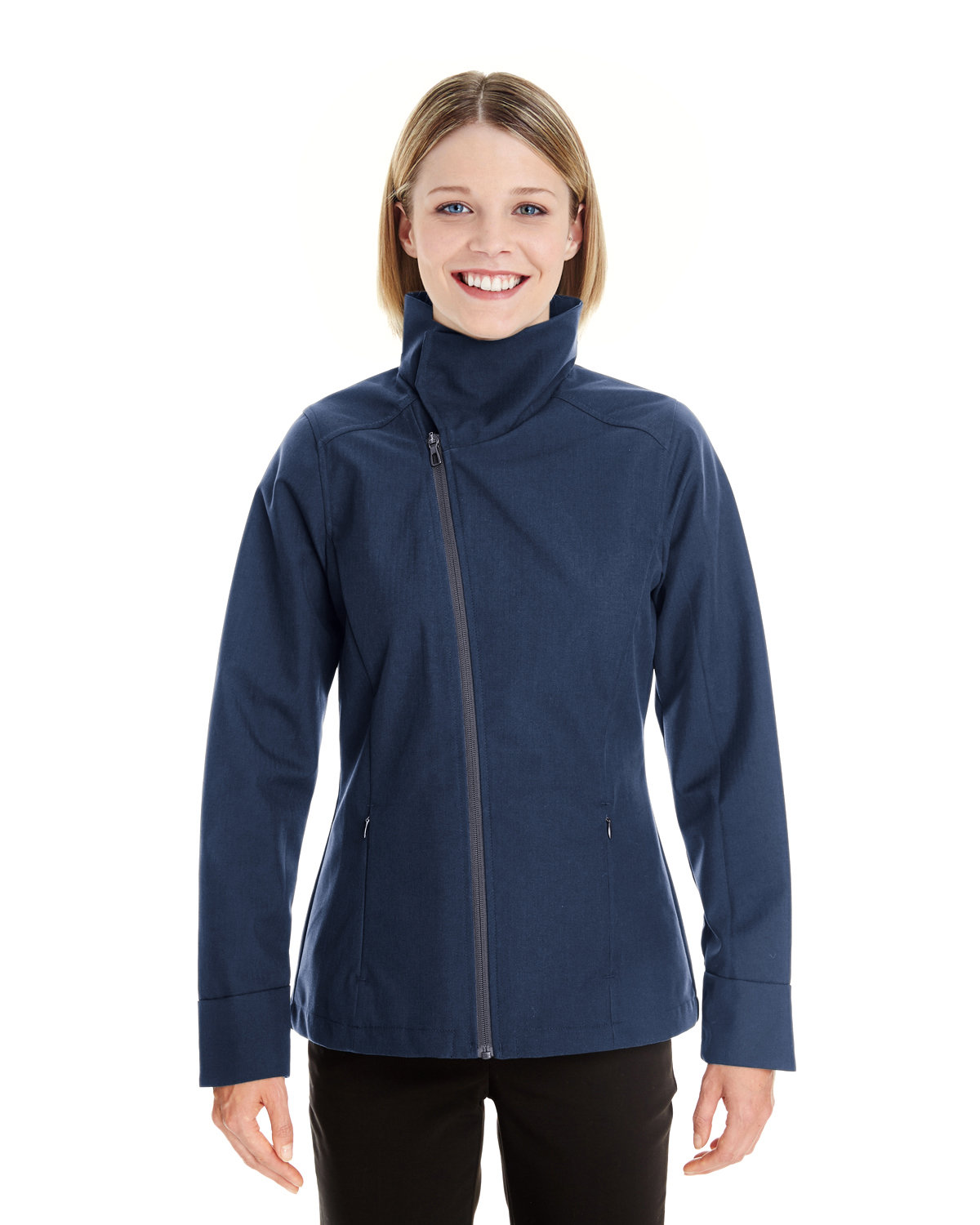 North End Ladies' Edge Soft Shell Jacket with Convertible Collar NAVY