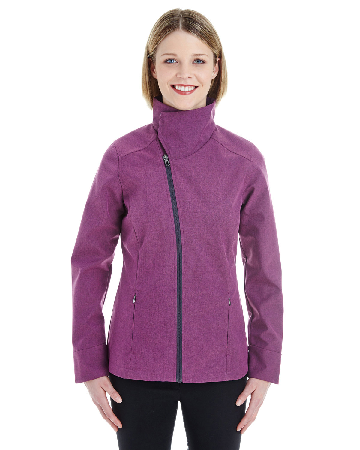 North End Ladies' Edge Soft Shell Jacket with Convertible Collar RASPBERRY
