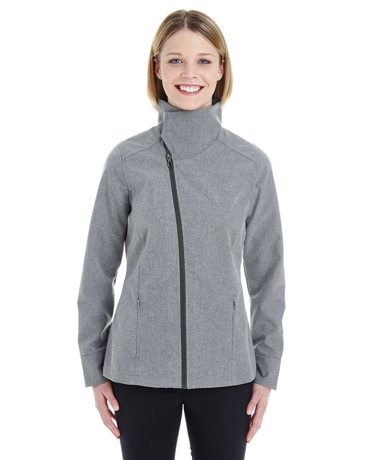 North End Ladies' Edge Soft Shell Jacket with Convertible Collar CITY GREY
