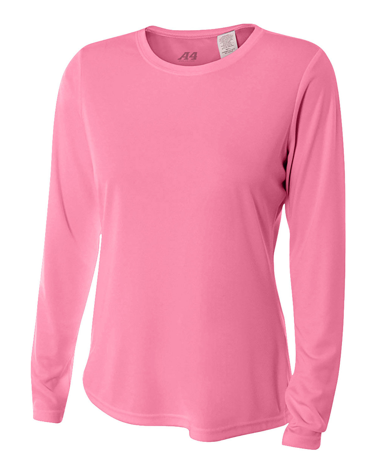 A4 Ladies' Long Sleeve Cooling Performance Crew Shirt PINK