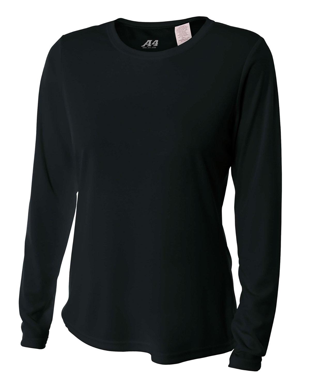 A4 Ladies' Long Sleeve Cooling Performance Crew Shirt BLACK