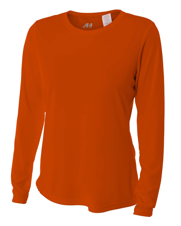 A4 Ladies' Long Sleeve Cooling Performance Crew Shirt ATHLETIC ORANGE