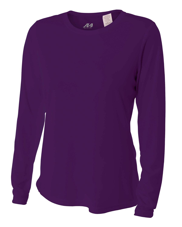 A4 Ladies' Long Sleeve Cooling Performance Crew Shirt PURPLE