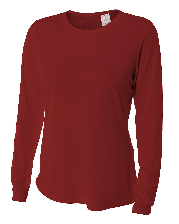 A4 Ladies' Long Sleeve Cooling Performance Crew Shirt CARDINAL