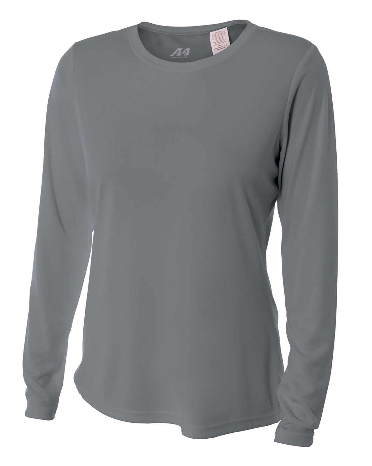 A4 Ladies' Long Sleeve Cooling Performance Crew Shirt GRAPHITE