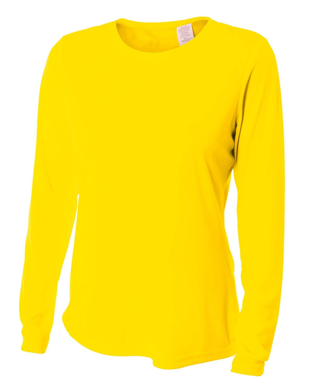 A4 Ladies' Long Sleeve Cooling Performance Crew Shirt SAFETY YELLOW