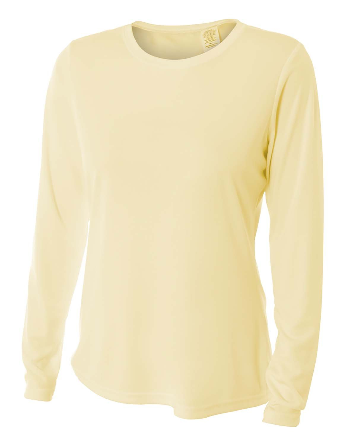 A4 Ladies' Long Sleeve Cooling Performance Crew Shirt LIGHT YELLOW