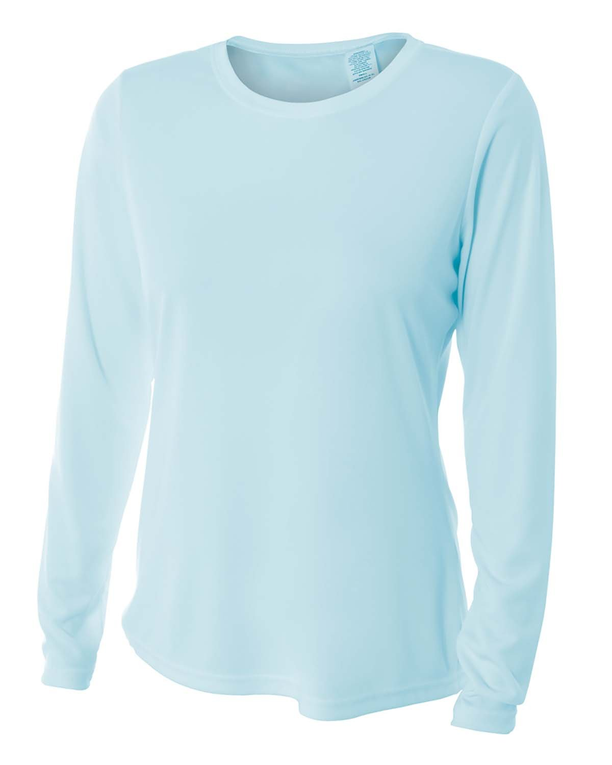 A4 Ladies' Long Sleeve Cooling Performance Crew Shirt PASTEL BLUE