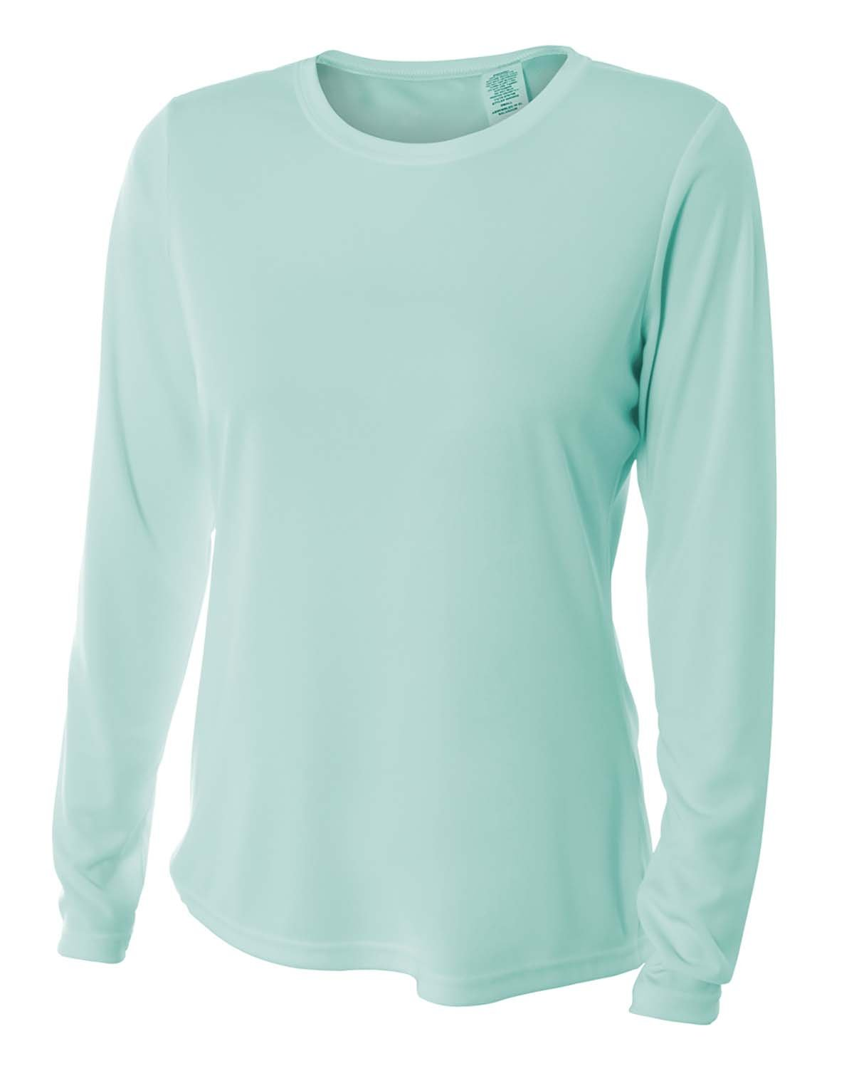 A4 Ladies' Long Sleeve Cooling Performance Crew Shirt PASTEL MINT
