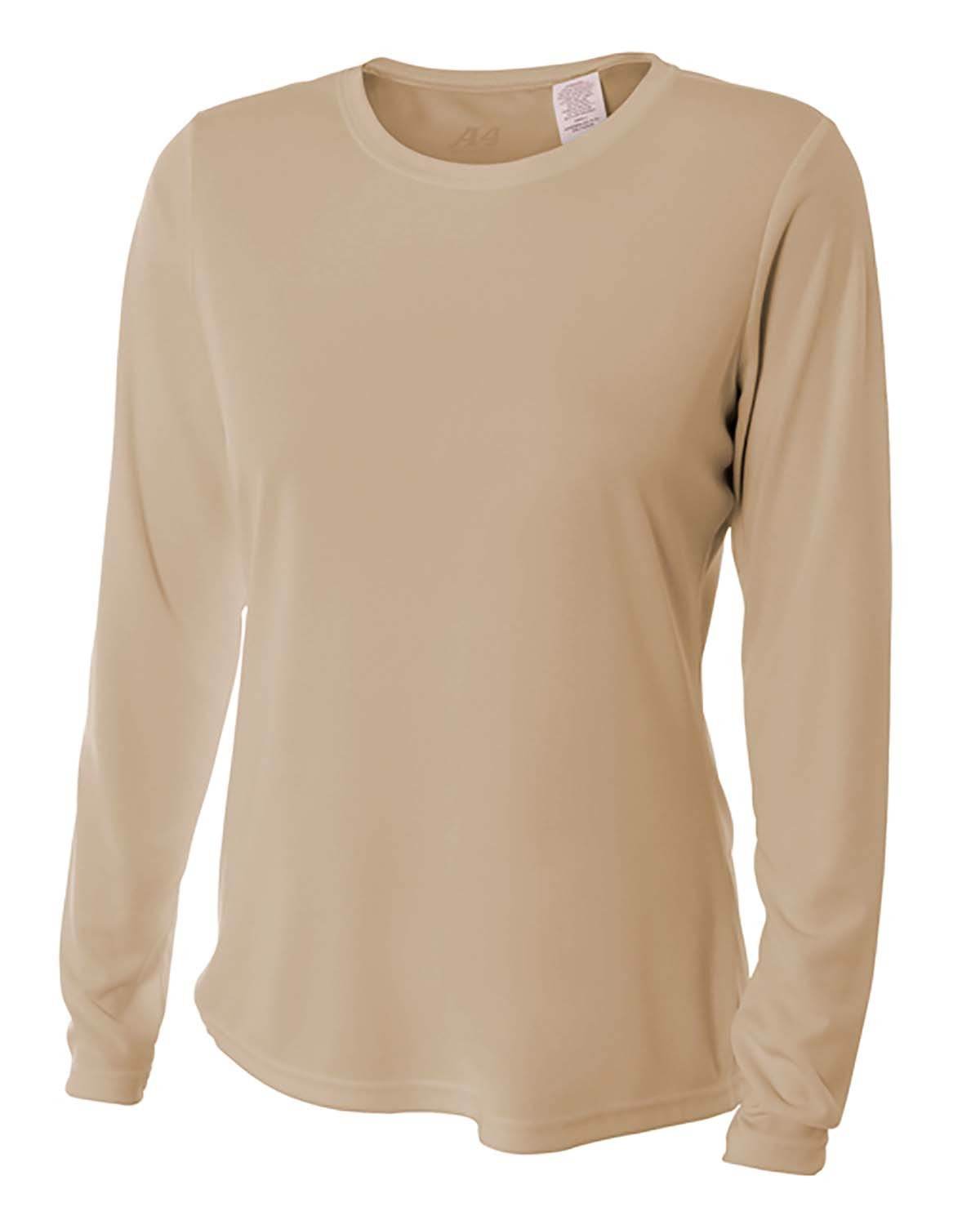 A4 Ladies' Long Sleeve Cooling Performance Crew Shirt SAND