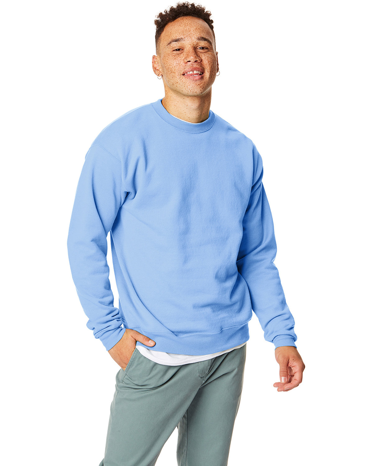 Hanes Unisex 7.8 oz., Ecosmart® 50/50 Crewneck Sweatshirt LIGHT BLUE