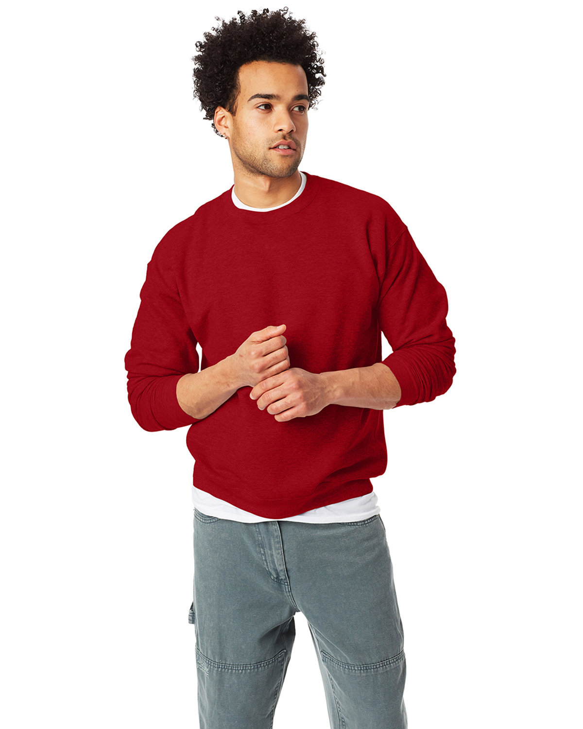 Hanes Unisex 7.8 oz., Ecosmart® 50/50 Crewneck Sweatshirt RED PEPPER HTHR