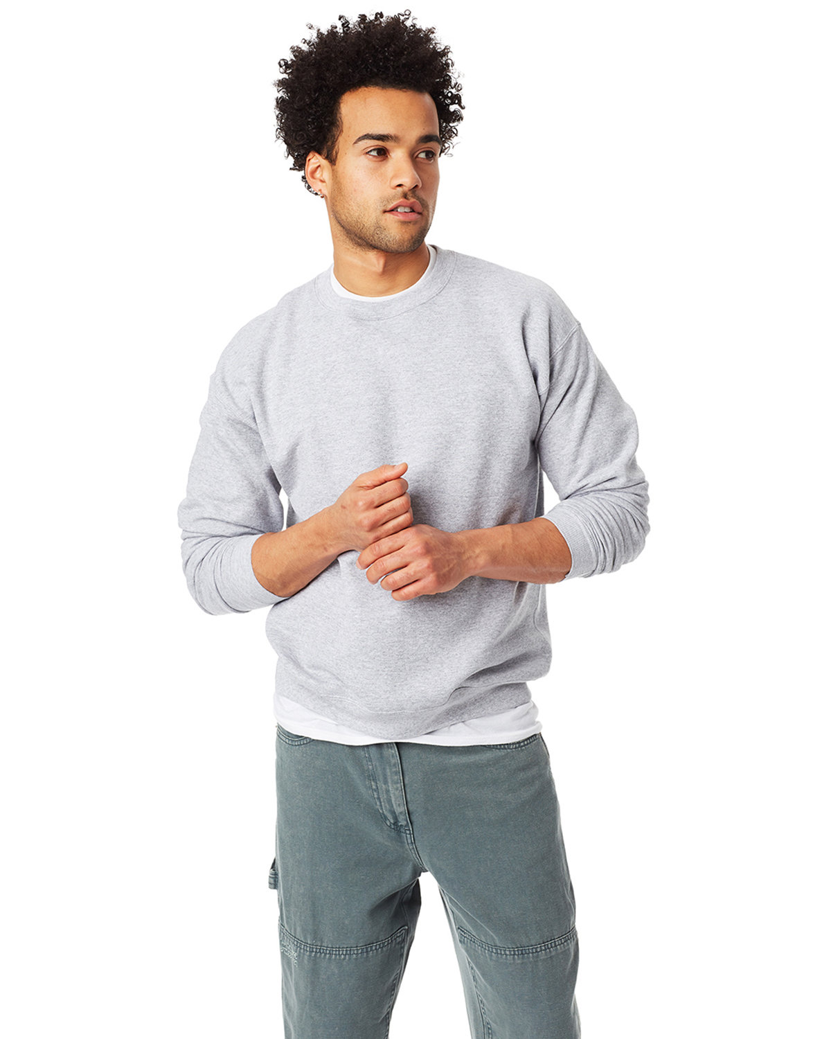 Hanes Unisex 7.8 oz., Ecosmart® 50/50 Crewneck Sweatshirt LIGHT STEEL