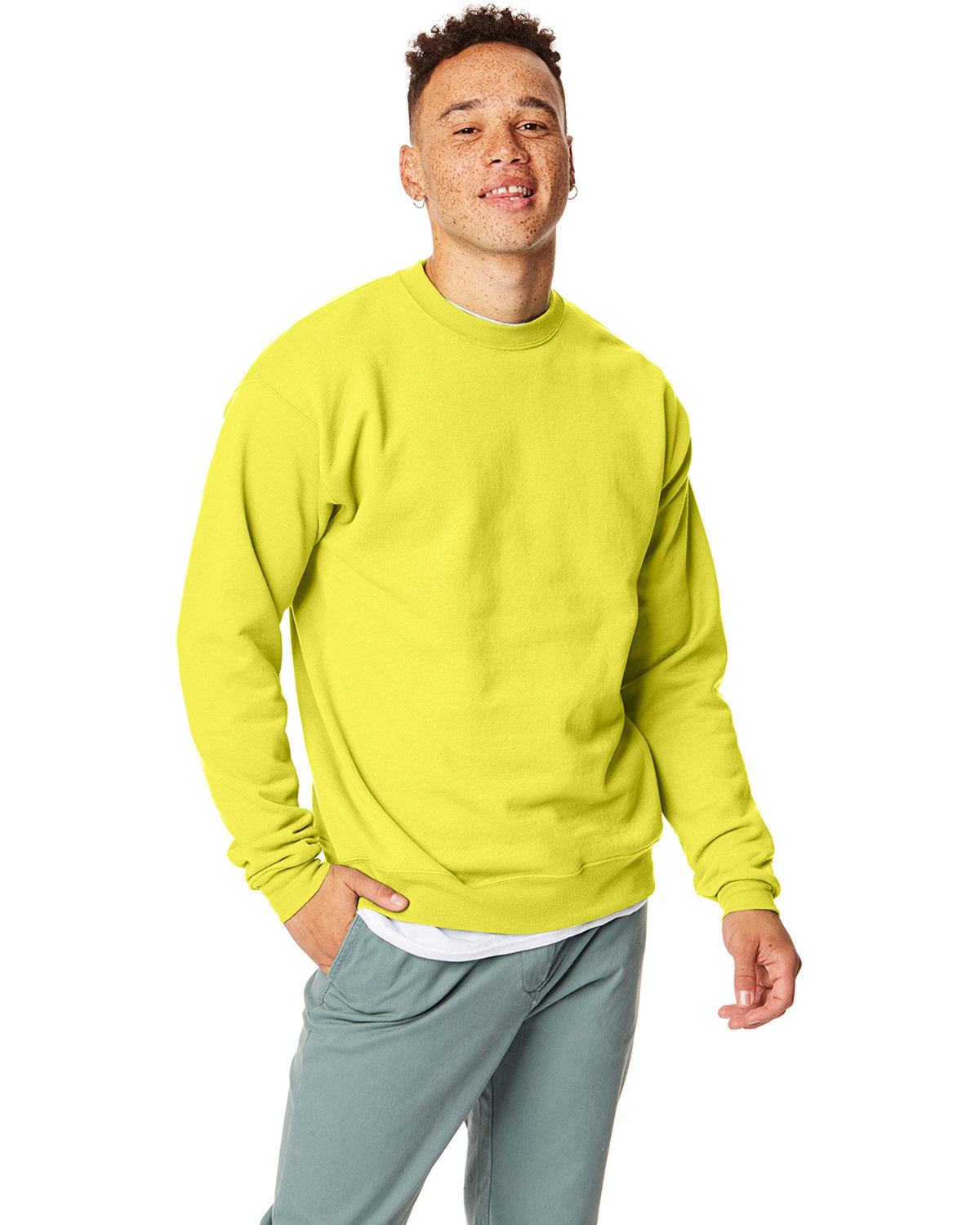 Hanes Unisex 7.8 oz., Ecosmart® 50/50 Crewneck Sweatshirt SAFETY GREEN