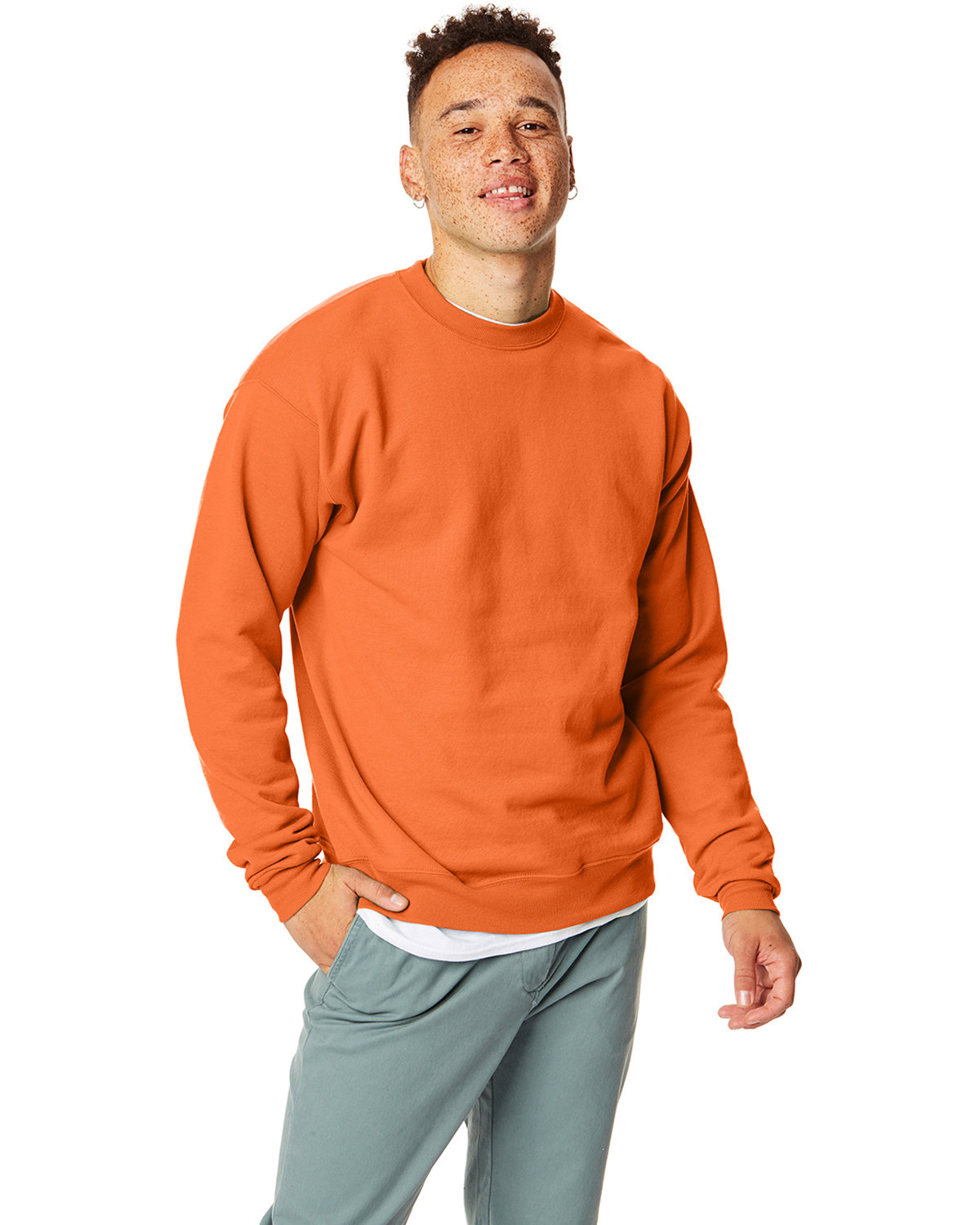 Hanes Unisex 7.8 oz., Ecosmart® 50/50 Crewneck Sweatshirt SAFETY ORANGE