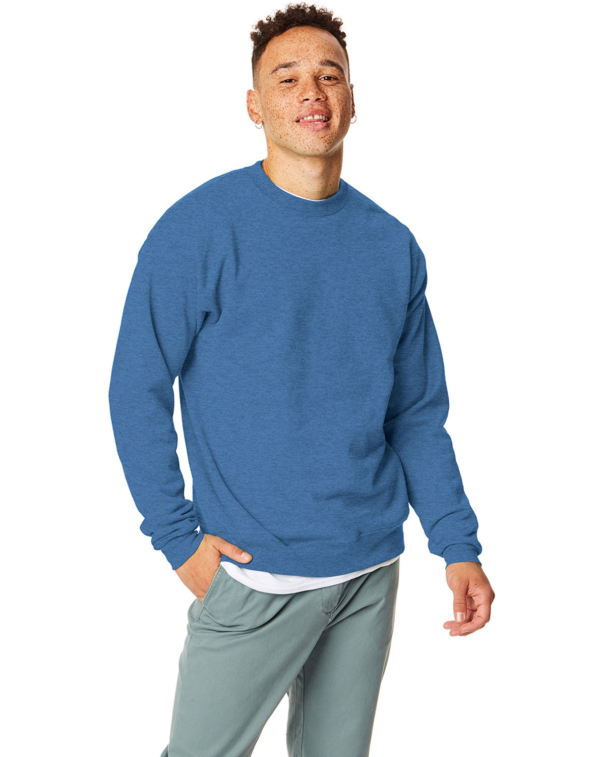 Hanes Unisex 7.8 oz., Ecosmart® 50/50 Crewneck Sweatshirt HEATHER BLUE